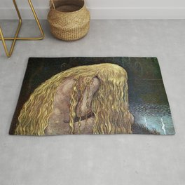 The Girl Who Lost It All, blond nude at the lakeside magical realism painting by John Bauer Rug