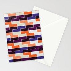 Orange & blue tile pattern Stationery Cards