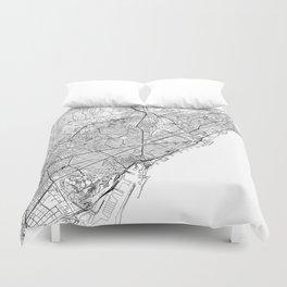 Barcelona White Map Duvet Cover