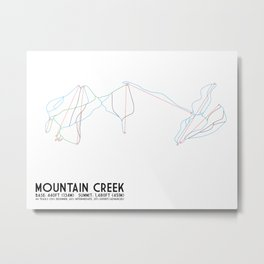 Mountain Creek, NJ - Minimalist Trail Art Metal Print