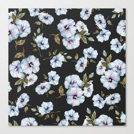 BLUE FLOWERS WATERCOLOR Canvas Print