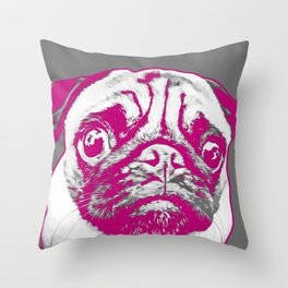 Sweet pug in pink and gray. Pop art style portrait. Throw Pillow