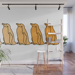Waddle of Penguins in Gold Tones Wall Mural