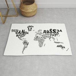 world map typography 2 Rug
