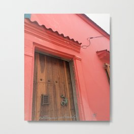 Cartagena is Peachy, Colombia, South America. Coral Pink Building with Ornate Lizard design Metal Print