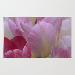 White And PinkTulip Flowers Rug
