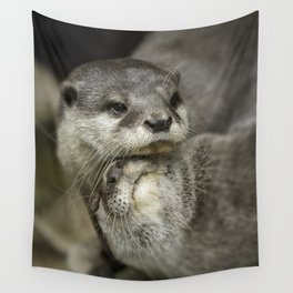 Otter Cuddle Wall Tapestry