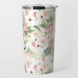Vintage & Shabby Chic - Botanical Flower Roses Garden Travel Mug