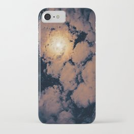 Full moon through purple clouds iPhone Case