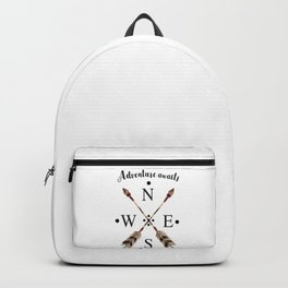 Cardinal directions Compass Arrows Adventure awaits Typography Backpack
