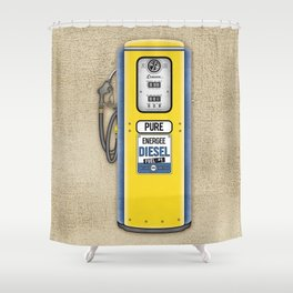 Retro Gas Pump in Navy Blue and Canary Yellow Shower Curtain