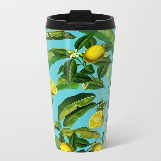 Lemon and Leaf II Metal Travel Mug
