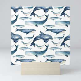 Whales Family Pattern Mini Art Print