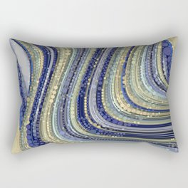 mae - wavy abstract design periwinkle navy blue soft yellow Rectangular Pillow