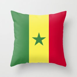 Senegal flag emblem Throw Pillow