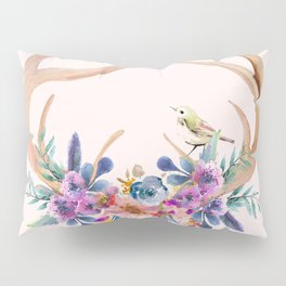 Antlers with Flowers Pillow Sham