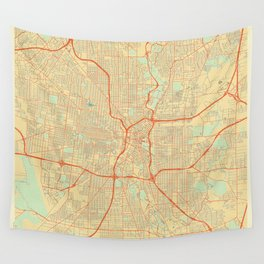 San Antonio Map Retro Wall Tapestry