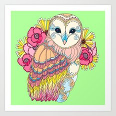 Barn Owl & Flowers Art Print