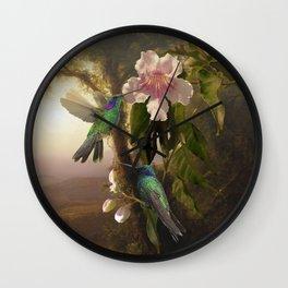 Sparkling Violetear Hummingbirds Wall Clock