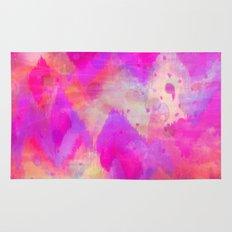 BOLD QUOTATION, Revisited - Intense Raspberry Peachy Pink Vibrant Abstract Watercolor Ikat Pattern Rug