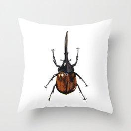Rhinoceros Beetle Throw Pillow