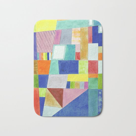 Colorful Abstract with Slantings and Windows Bath Mat