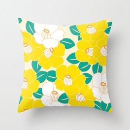 Shades of Tsubaki - Yellow & White Throw Pillow