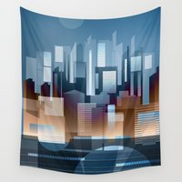 metropolis Wall Tapestries featuring Metropolis by Herb Vaine