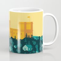 golden Mugs featuring Golden castle by Roland Banrevi