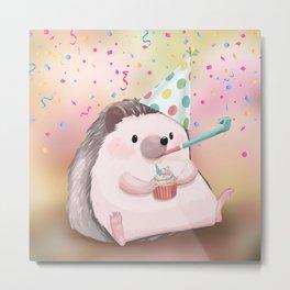 Birthday Hedgehog Metal Print