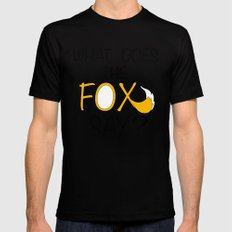 What Does The Fox Say  MEDIUM Black Mens Fitted Tee