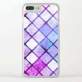 Purple Tiled Geometric Design Clear iPhone Case