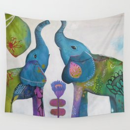 Elephants and whimsy bird, intuitional painting, colorful art by Kimbelry Schulz Wall Tapestry