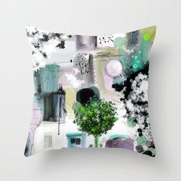 Peinture digitale maison arbres chat oiseau bulles Throw Pillow