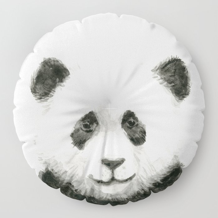 Baby Panda Watercolor Floor Pillow