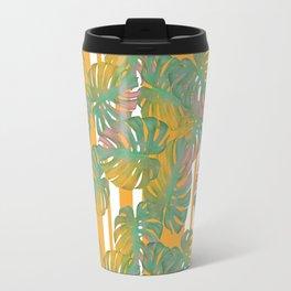 Golden Monstera Pinstripe Travel Mug