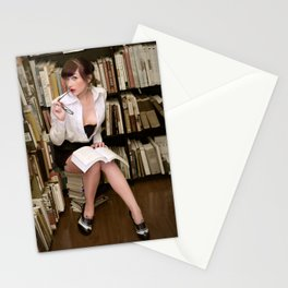 """I Like Books, Too"" - The Playful Pinup - Sexy Librarian Pin-up Girl by Maxwell H. Johnson Stationery Cards"