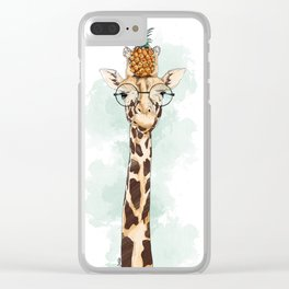 Intelectual Giraffe with a pineapple on head Clear iPhone Case