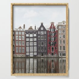 Buildings In Amsterdam City Picture | Dutch Canals Colorful Architecture Art Print | Europe Travel Photography Serving Tray