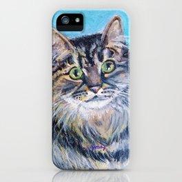 Munchkin tabby cat portrait iPhone Case
