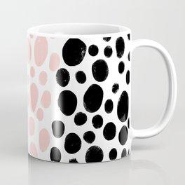 Dot Stripe minimalist painting black polka dots with millennial pink stripe art print and decor Coffee Mug