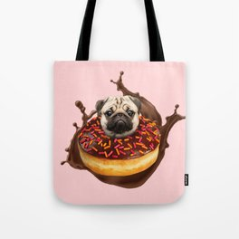 Pug Succulent Chocolate Donut Tote Bag