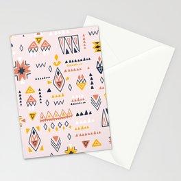 Vintage ethnic elements hand drawn on pastel background illustration pattern Stationery Cards