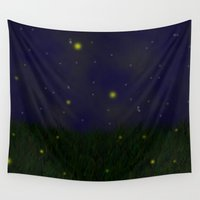 fireflies Wall Tapestries featuring Fireflies by Nova Jarvis