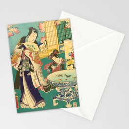 Spring Outing In A Villa Diptych #1 by Toyohara Kunichika Stationery Cards