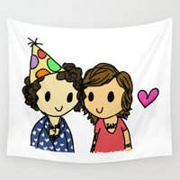 boys Wall Tapestries featuring Birthday Boys by clevernessofyou