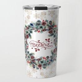 Elegant Believe Typography Christmas Wreath Gold Snowflakes Travel Mug