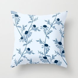 Chamomile Collection - Tea Time Classic Blue Throw Pillow