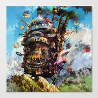 calcifer Canvas Prints featuring howl's moving castle by ururuty