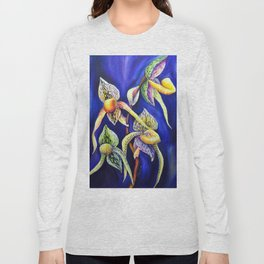 Orchid -  The Paphiopedilum , known as Lady's Slipper Long Sleeve T-shirt